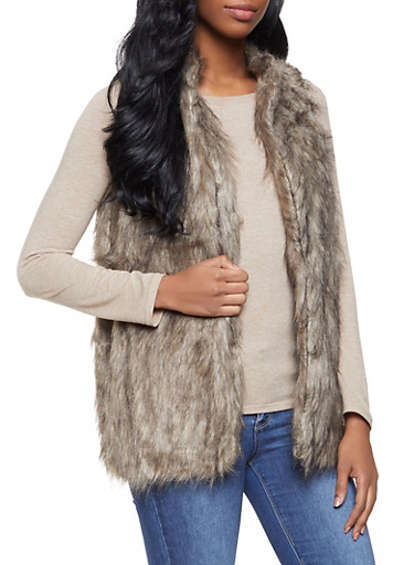 Faux Fur Vest,BROWN,large
