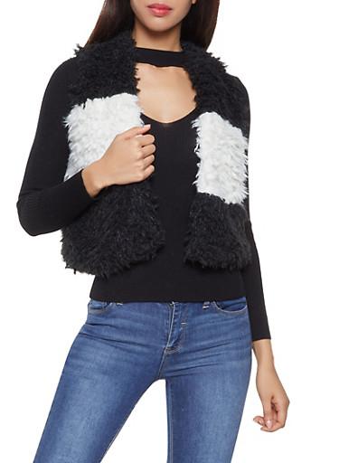 Color Block Shaggy Faux Fur Vest,BLACK/WHITE,large