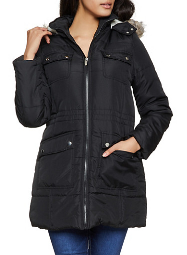 Sherpa Lined Faux Fur Trim Puffer Jacket,BLACK,large
