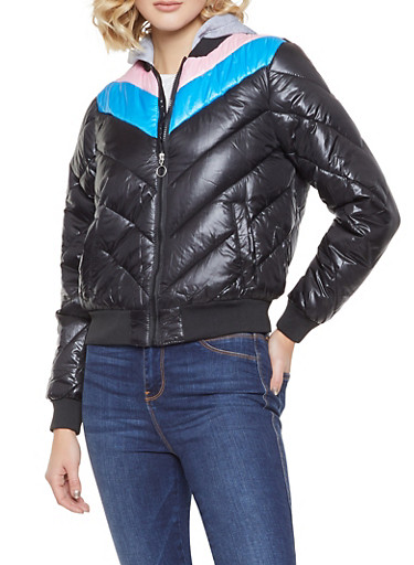 Chevron Color Block Bubble Jacket,BLACK,large