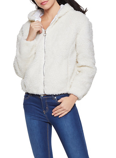 Hooded Zip Front Sherpa Jacket,IVORY,large