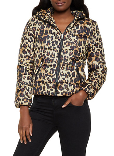 Animal Print Hooded Puffer Coat,BROWN,large