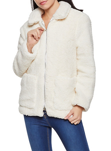 Collared Zip Front Sherpa Jacket,IVORY,large