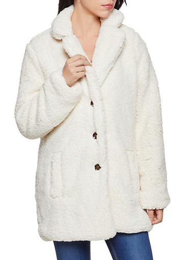 Lined Sherpa Button Front Jacket,IVORY,large