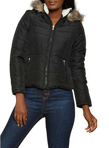 Sherpa Lined Hood Quilted Puffer Jacket,BLACK,large