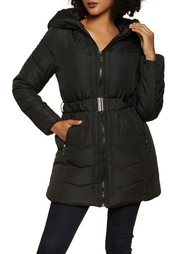 Long Belted Puffer Coat,BLACK,large