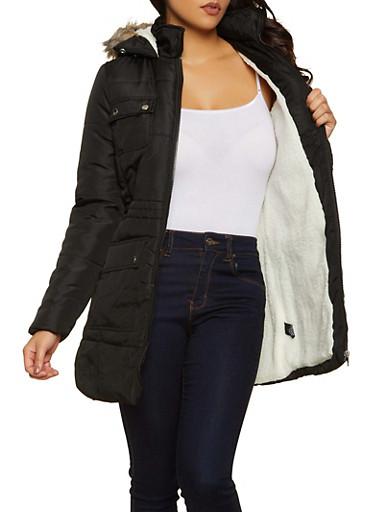 Sherpa Lined Puffer Jacket,BLACK,large