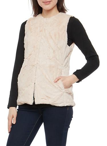 Open Front Faux Fur Vest,BLUSH,large