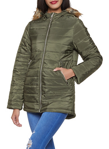 Faux Fur Hooded Puffer Jacket,OLIVE,large