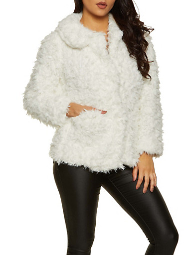 Faux Fur Collared Coat,IVORY,large