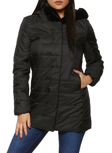 Faux Fur Trim Puffer Jacket,BLACK,large