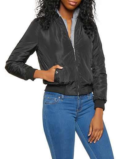 Hooded Double Zip Bomber Jacket,BLACK,large