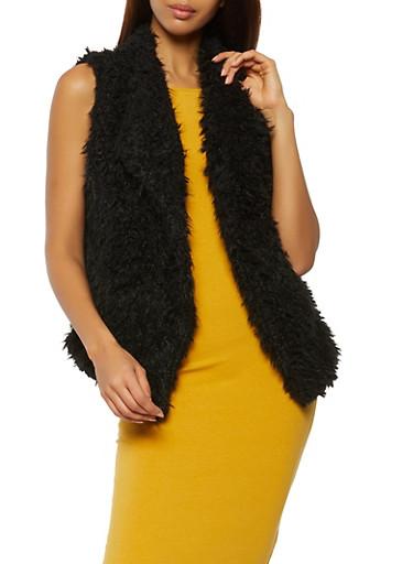 Shaggy Faux Fur Collared Vest,BLACK,large
