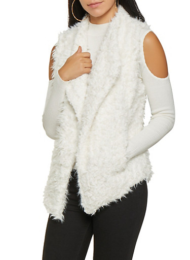 Shaggy Faux Fur Vest,IVORY,large