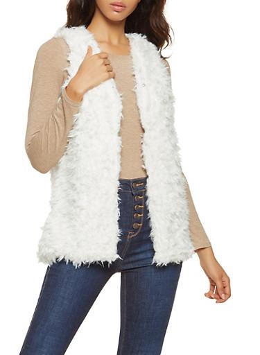Shaggy Faux Fur Vest,IVORY,large