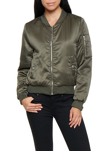 Satin Zipper Detail Bomber Jacket,OLIVE,large