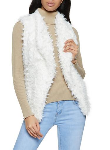 Shaggy Faux Fur Vest | 3084054269310,IVORY,large