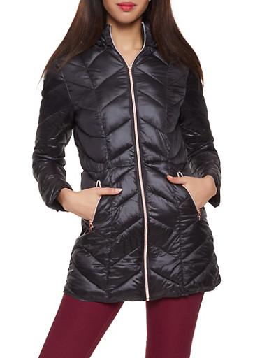 Hooded Puffer Jacket,BLACK,large