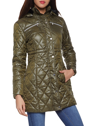 Faux Fur Hooded Long Puffer Jacket,OLIVE,large