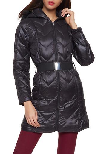 Belted Puffer Jacket,BLACK,large