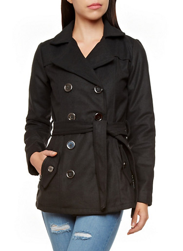 Belted Double Breasted Peacoat,BLACK,large