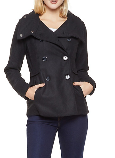Double Breasted Peacoat,BLACK,large