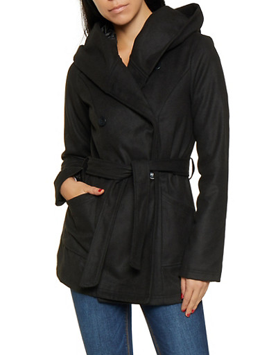 Double Breasted Hooded Peacoat,BLACK,large