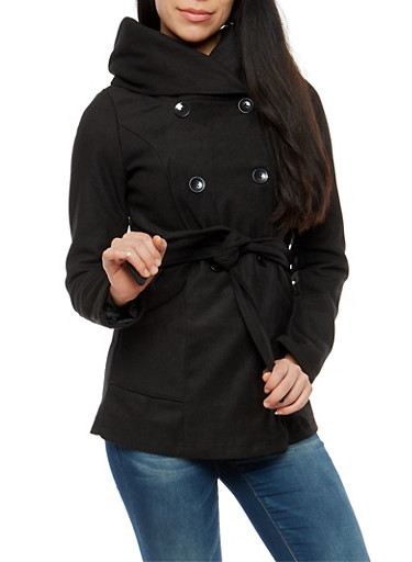 Button Front Hooded Peacoat Jacket,BLACK,large
