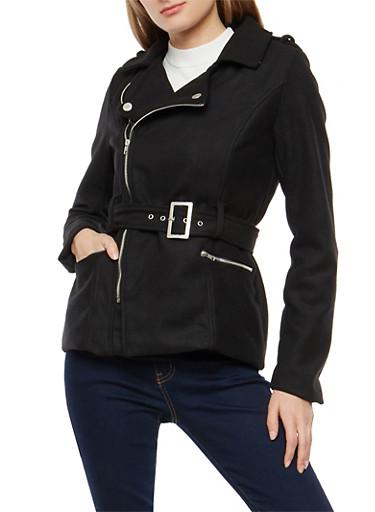 Belted Wool Zip Up Jacket,BLACK,large
