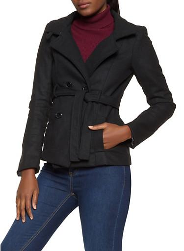 Short Wool Peacoat,BLACK,large