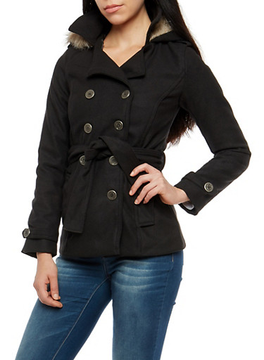 Wool Belted Peacoat with Faux Fur Lined Hood,BLACK,large