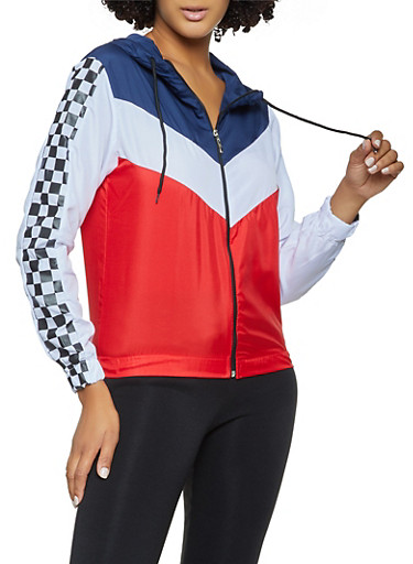 Color Block Checkered Detail Windbreaker,RED,large