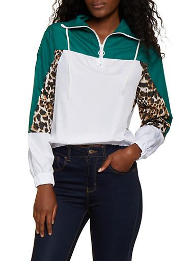 Zip Neck Color Block Windbreaker Jacket,GREEN,large