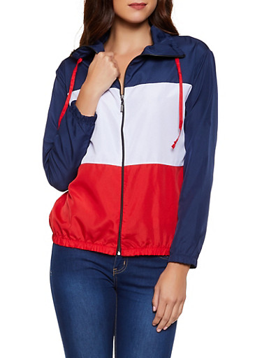 Love Color Block Windbreaker Jacket,RED,large