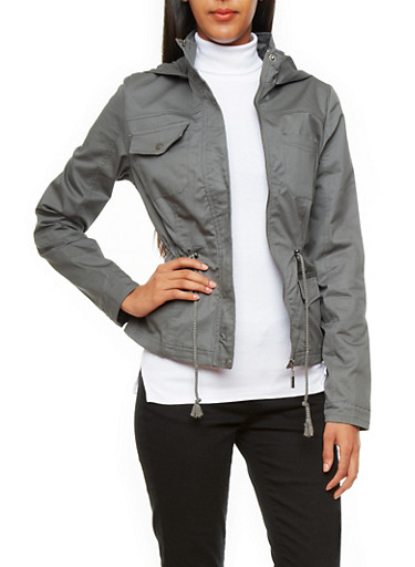 Hooded Twill Anorak Jacket,CHARCOAL,large