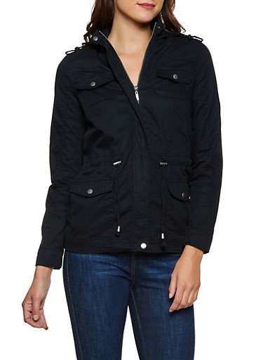 Solid Twill Anorak Jacket,BLACK,large