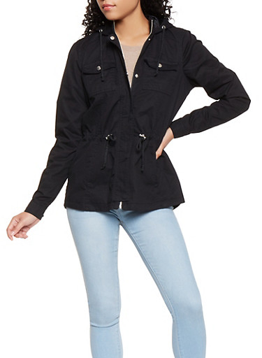 Hooded Anorak Jacket,BLACK,large