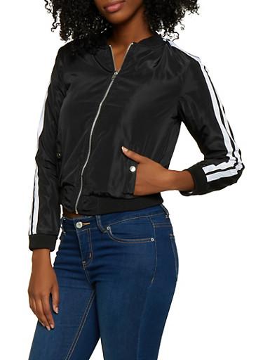 Nylon Varsity Stripe Bomber Jacket,BLACK,large