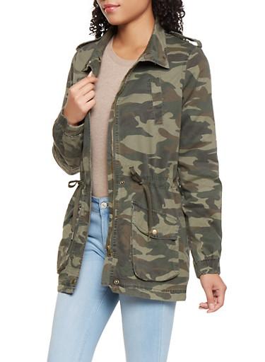 Camo Anorak Jacket,OLIVE,large