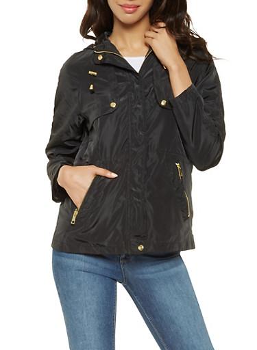 Hooded Nylon Anorak Jacket,BLACK,large