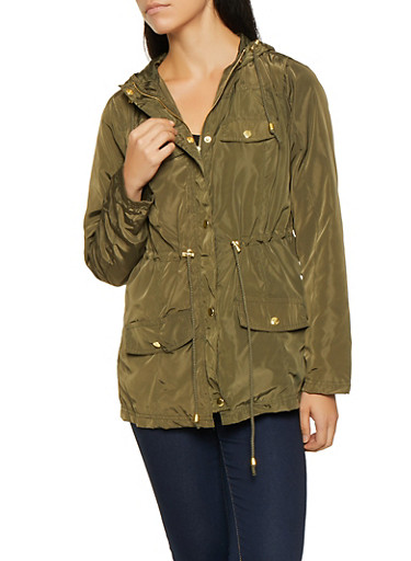 Nylon Anorak Jacket,OLIVE,large