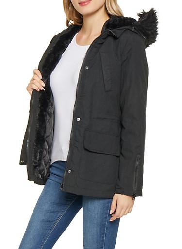 Faux Fur Trim Hooded Anorak Jacket,BLACK,large