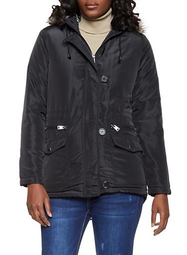 Sherpa Lined Hooded Nylon Anorak Jacket,BLACK,large