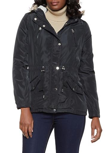 Sherpa Lined Nylon Anorak Jacket,BLACK,large