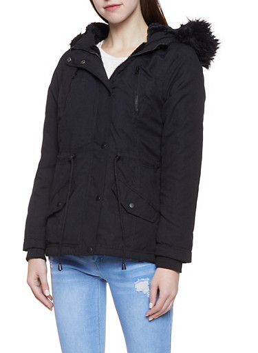Faux Fur Trim Anorak Jacket,BLACK,large