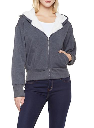 Sherpa Trim Hooded Sweatshirt,CHARCOAL,large