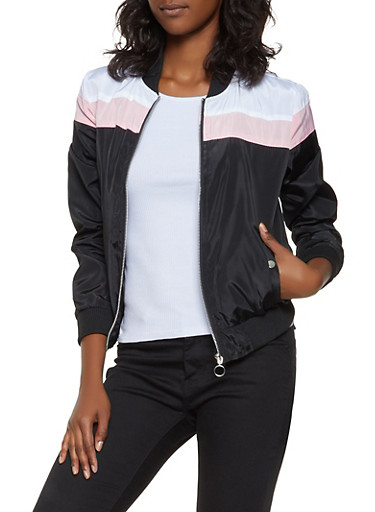 Color Block Lightweight Bomber Jacket,BLACK,large