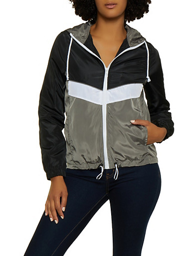 Hooded Color Block Zip Windbreaker,SILVER,large