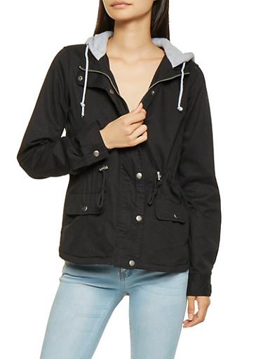 Hooded Anorak Jacket,BLACK,large