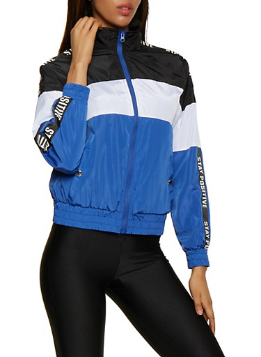 Stay Positive Color Block Windbreaker,RYL BLUE,large